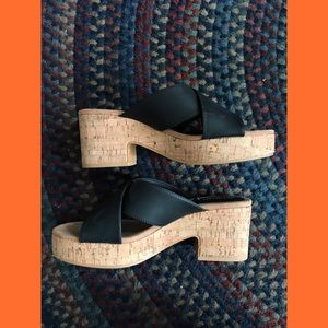 black faux leather wedges with cork heel